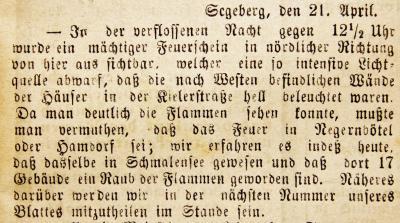 Foto zur Meldung: Vor 135 Jahren: Schmalensee ein Raub der Flammen – Der Dorfbrand wirkt bis heute nach