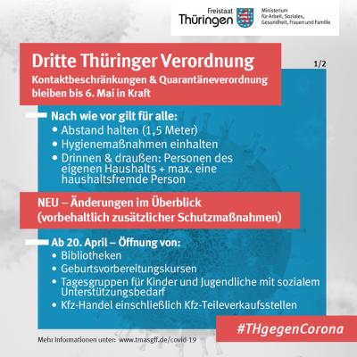 Vorschaubild zur Meldung: Neue Thüringer Corona-Verordnung am 18. April 2020 erlassen