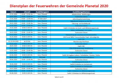 Vorschaubild zur Meldung: Dienstplan der Feuerwehren Gemeinde Planetal 2020