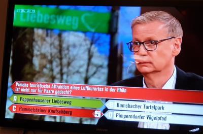 Vorschaubild zur Meldung: Der Poppenhausener Liebesweg bei der TV-Show 5 gegen Jauch