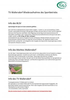 Vorschaubild zur Meldung: TV-Wallersdorf Wiederaufnahme des Sportbetriebs