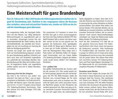 Vorschaubild zur Meldung: Zeitschrift matchball über die Leistungen bei der Jugend-Brandenburgmeisterschaft (29.02/01.03.20)