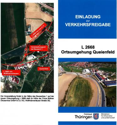 Vorschaubild zur Meldung: Verkehrsfreigabe Ortsumfahrung Queienfeld am 25.06.2020