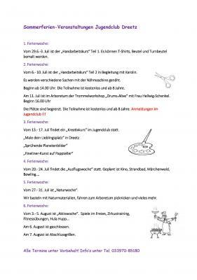 Ferienprogramm im Jugendclub in Dreetz