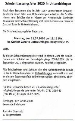 Einladung der Gemeinde Elchingen im Mitteilungsblatt