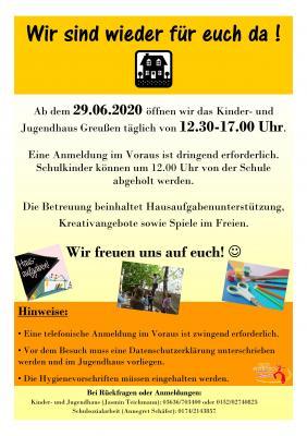 Foto zur Meldung: Öffnung Jugendhaus Greußen ab 29. Juni 2020