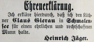 Ehrenerklärung Heinrich Jäger für Claus Gierau, SKWB 30.09.1890