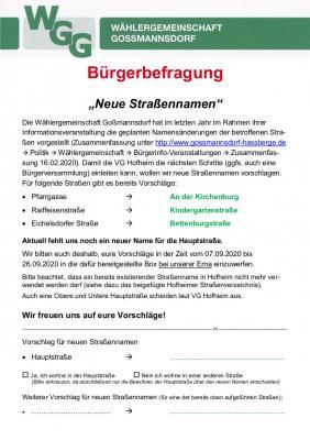 """Vorschaubild zur Meldung: Bürgerbefragung """"Neue Straßennamen"""""""