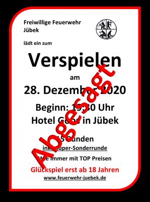 Bild der Meldung: Verspielen FF Jübek am 28.12.2020 - Abgesagt