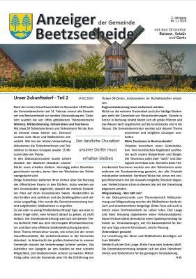 Foto zur Meldung: Anzeiger der Gemeinde Beetzseeheide Ausgabe 01/2020