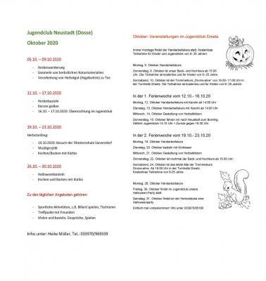 Vorschaubild zur Meldung: Ferienangebote der Jugendclubs im Oktober