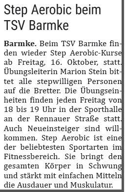 Foto zur Meldung: Step Aerobic beim TSV Barmke