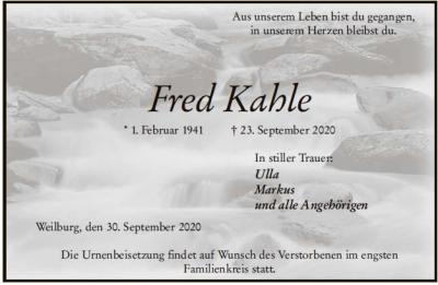 Traueranzeige Fred Kahle