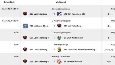 Überblick alle Spiele mit ESV-Beteiligung