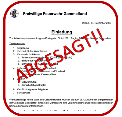 Bild der Meldung: Absage Jahreshautversammlung der FFw Gammellund 08.01.2021