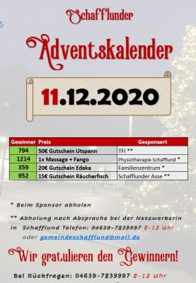 Adventskalender - Gewinner 11.12.