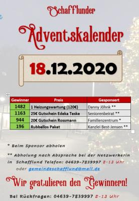 Adventskalender - Gewinner 18.12.
