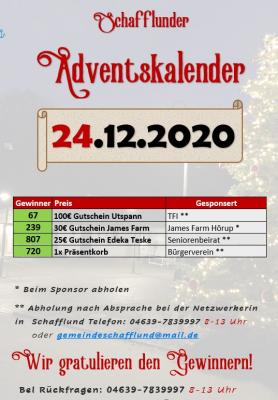 Adventskalender - Gewinner 24.12.
