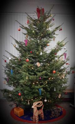 Weihnachtsbaum im Foyer der Schule