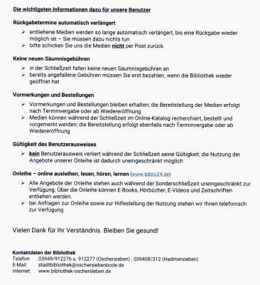 Stadtbibliotheken Oschersleben und Hadmersleben ab dem 16. Dezember geschlossen