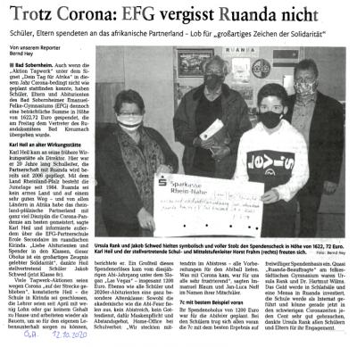 Zeitungsmeldung des Öffentlichen Anzeigers vom 12.10.2020