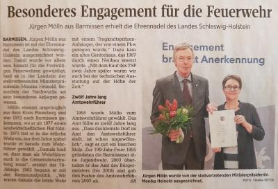Ehrennadel des Landes Schleswig- Holstein für Jürgen Mölln