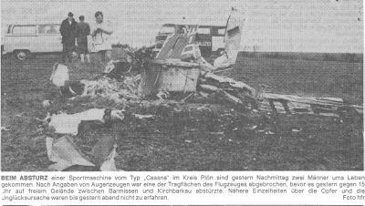 Foto zur Meldung: Trauriger Flugzeugabsturz in Barmissen