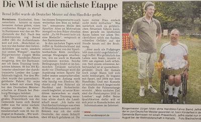 Foto zur Meldung: Deutscher Meister im Hand-Bike Bernd Jeffre`