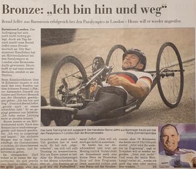 Barmissener Bernd Jeffre`gewinnt Bronze bei den Paralympischen Spielen in London