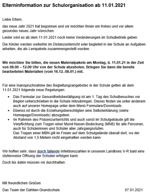 Vorschaubild der Meldung: Elterninformation zur Schulorganisation ab 11.01.2021