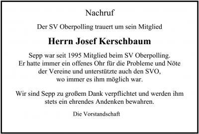 Bild der Meldung: SV Oberpolling trauert um sein Mitglied Herrn Josef Kerschbaum