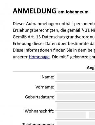 Informationen zur Anmeldung am Johanneum