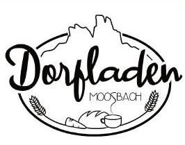 Logo des Dorfladens in Moosbach, im Hintergrund: der Pfahl