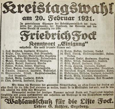 Foto zur Meldung: Vor 100 Jahren: Ein Super-Wahltag für die Schmalenseer