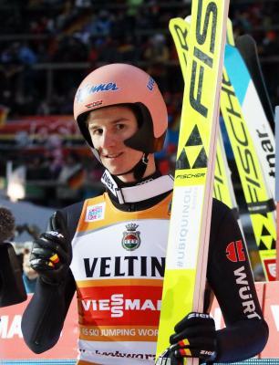 Karl Geiger (SC Oberstdorf) ist neuer Vize-Weltmeister von der Normalschanze - Foto: Joachim Hahne / johapress