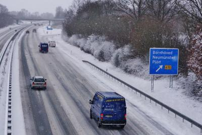 Blick auf die A21 am 9. Februar