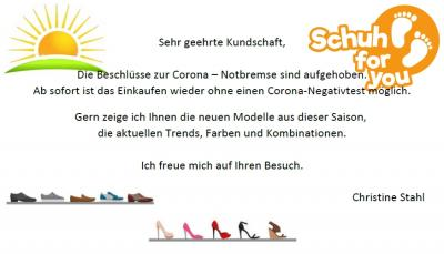 Schuh for you wieder offen