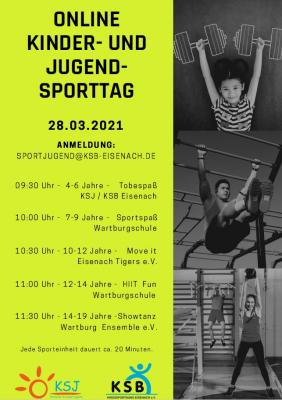 """""""Online Kinder- und Jugendsporttag"""" des KSB Eisenach und der Eisenacher Kreissportjugend"""