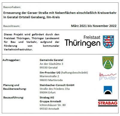 Foto zur Meldung: Erneuerung der Geraer Straße mit Nebenflächen einschließlich Kreisverkehr in Geratal Ortsteil Geraberg, Ilm-Kreis