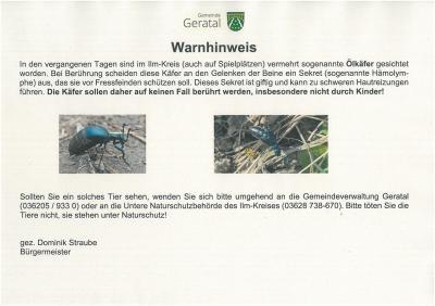 Warnhinweis: Ölkäfer im Ilm-Kreis!