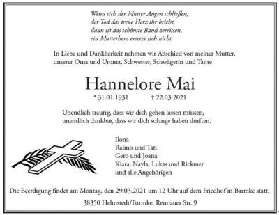 Foto zur Meldung: TSV Barmke trauert um Hannelore Mai