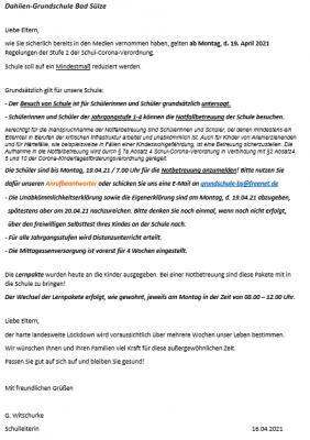 Vorschaubild der Meldung: Aktuelle Informationen zum Schulbetrieb/Notbetreuung