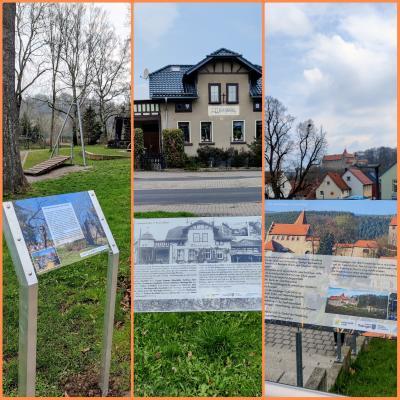 Tafeln am Mehrgenerationenpark, am Bahnhof und an der Schule mit Blick zur Niederburg