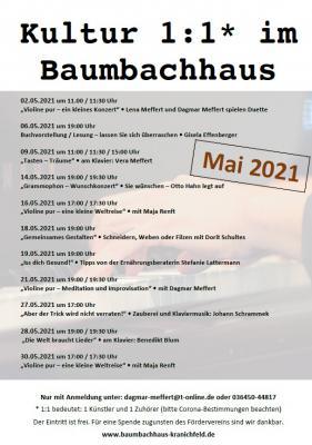 """Interessante und berührende Begegnungen bei """"Kultur 1:1 im Baumbachhaus"""""""