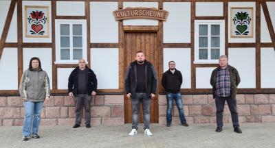 Neuer OB Loshausen. v.l.: Nicole Diehl, Karol Steinacker, Ortsvorsteher Tobias Mattern, Matthias Worm, Bernd Reiner