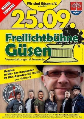 Konzert mit der Band Atemlos & Joe Carpenter - Freilichtbühne Güsen verschoben! Neuer Termin am 25.09.2021 - Tickets behalten Ihre Gültigkeit!