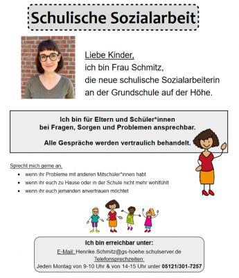 NEU: Schulische Sozialarbeit an der Grundschule auf der Höhe: Frau Schmitz stellt sich vor - bitte klicken!