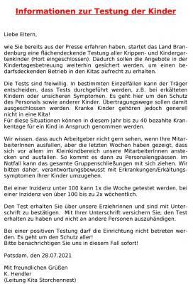 Pilotprojekt Brandenburg Testung Kindergartenkinder / Krippenkinder