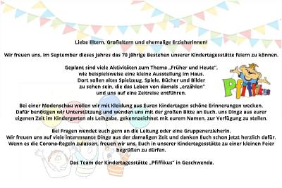 """Foto zur Meldung: Aufruf zur Mitgestaltung der 70-Jahre-Feier des Kindergarten """"Pfiffikus"""" in Geschwenda"""