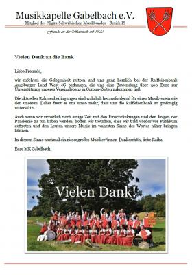 Herzlichen Dank an die Raiffeisenbank Augsburger Land West eG